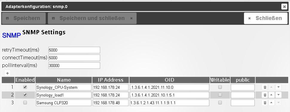 Adapter SNMP - Drucker, Synology, QNAP etc auslesen