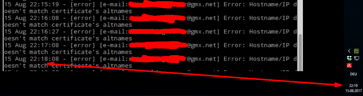E-Mail Versand Fehler, Host/IP doesn't match