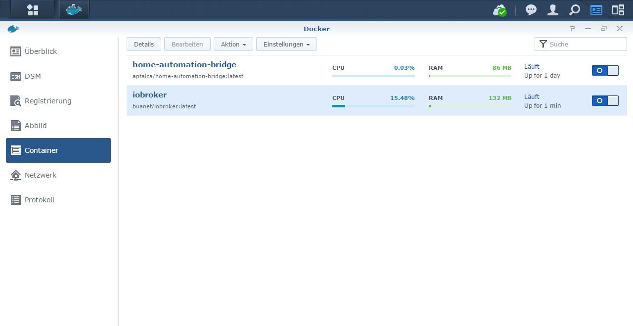 HowTo][Anleitung] Installation ioBroker in Docker auf Synology