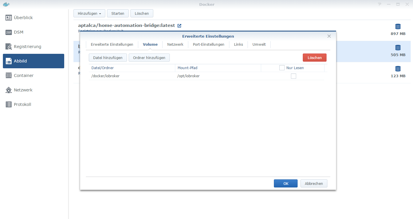 HowTo][Anleitung] Installation ioBroker in Docker auf